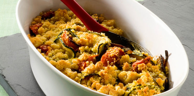 Crumble de courgettes au thon et tomates séchées
